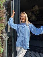Женская стильная блузка под горло с длинным рукавом, фото 1