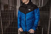 Куртка мужская осенняя/весенняя The North Face синяя черная утепленная ТНФ TNF Демисезонная ветровка электрик