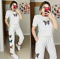 Женский стильный костюм футболка и штаны с принтом, фото 1