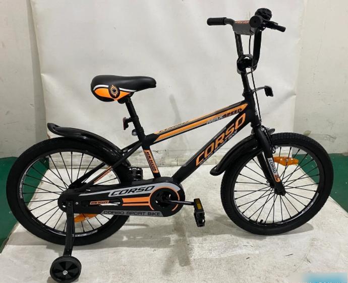 Детский двухколесный велосипед Corso ST-20455 колеса 20 дюймов / стальные противоударные диски / черно-оранж