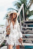 Белая пляжная накидка женская свободного кроя, короткая пляжная туника из белого кружева