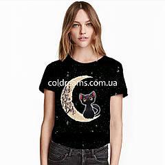 """Стрейч кулір принт """"Кіт на місяці"""" купон 75х180см. (діджитал) прихід 20.06"""