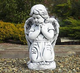 Садова паркова фігура Ангел молиться на колінах 33x32x54.5 см Сірий