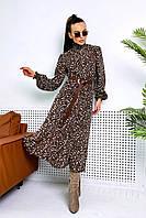 ✔️Женское шифоновое платье миди с длинным рукавом с воротни 42-48 размера с цветочным принтом разные расцветки