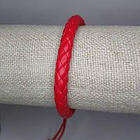 Кожаный красный браслет оберег на руку