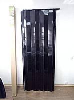Дверь гармошкой глухая №12 венге черный, размер 810*2030*6 мм