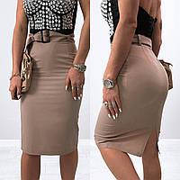 Стильная блегающая женская юбка-карандаш до колен с поясом (р.42-52). Арт-3716/31