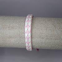 Браслет на руку кожаный бело-розовый