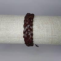 Браслет на руку кожаный коричневый плетеный