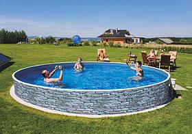 Круглый сборной бассейн Azuro Stone Ø 5 м, глубина 1.2 м, песочная фильтрационная станция