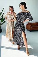 ✔️Женское шифоновое летнее платье миди с открытыми плечами 42-48 размера с цветочным принтом разные расцветки
