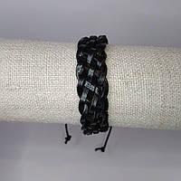 Браслет на руку кожаный черный плетеный