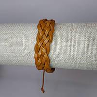 Браслет на руку кожаный светло-коричневый плетеный