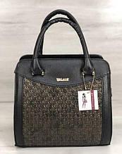Стильная каркасная женская сумка Aliri-32401 черного цвета с вставками
