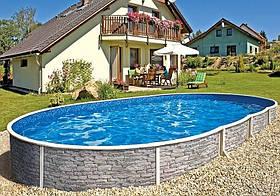 Овальный сборной бассейн Azuro Stone 5.5х3.7 м, глубина 1.2 м, песочная фильтрационная станция