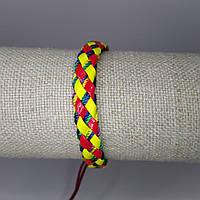 Браслет на руку плетеный кожаный яркий
