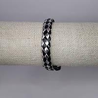 Браслет на руку плетеный кожаный черно-серый