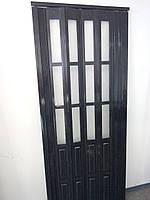 Дверь гармошка полуостекленная черное дерево 860х2030х12мм ,685, фото 1