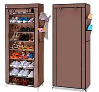 Складной тканевый шкаф для обуви на 30 пар Shoe Cabinet Shoe rack 9 полок Коричневый