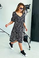 Летнее платье из льна свободного кроя миди длины 42-48 размер разные расветки