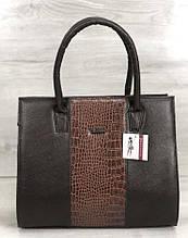 Женская сумка Aliri-316-25 Черная с коричневым текстура крокодил