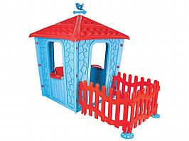 Игровой домик с оградой Pilsan Stone 06-443 СИНЕ-КРАСНЫЙ