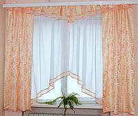 Комплект штор для кухни Уголок крем
