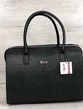 Стильная каркасная женская сумка Aliri-311-25 черная с зеленым текстура змея