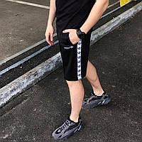 Чёрные летние мужские шорты Adidas с лампасами