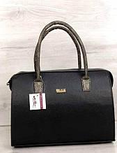 Стильная каркасная женская сумка Aliri-311-28 черная матовая с золотистыми ручками