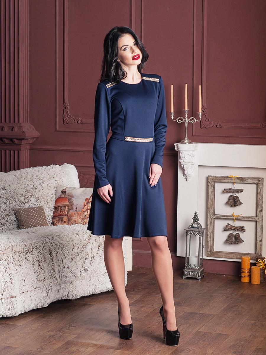 Красивое синее платье с поясом
