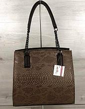 Каркасная женская сумка Aliri-32105 коричневого цвета с вставкой змея