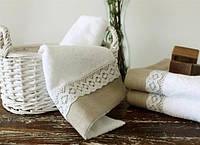 Полотенце махровое Barine - Lace белое 50*90