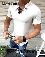 Мужская стильная футболка со шнуровкой, фото 1