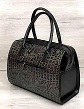 Стильная женская сумка Aliri-311-36 серая лаковая текстура крокодил