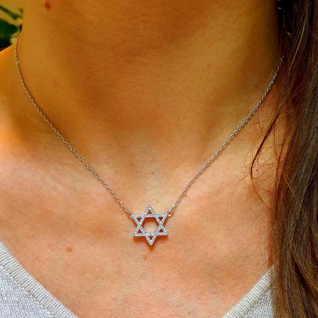 Серебряное колье Звезда Давида - Кулон Звезда Давида серебро родированное
