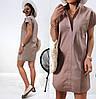 Стильное короткое льняное платье-туника с карманом на груди р.42-56. Арт-3719/31