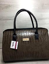 Каркасная женская сумка Aliri-311-34 коричневая текстура крокодил с черными ручками