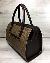 Каркасная женская сумка Aliri-311-32 коричневая текстура змея