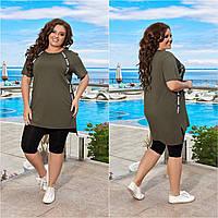 Жіночий модний батальний костюм двійка : бриджі + довга футболка (р. 50-60). Арт-3718/31 хакі