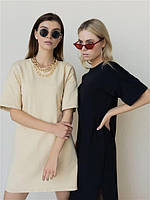 Женское стильное платье-футболка, черное и бежевое ( в размерах 42-44, 46-48) отличного качества