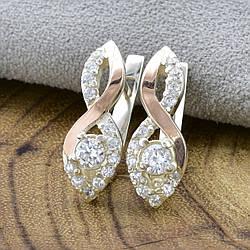 Серебряные серьги с золотом Бриз размер 20х7 мм белые фианиты вес 4.0 г