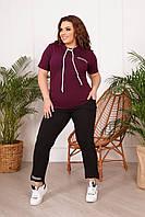 Стильный летний комбинированный спортивный костюм батал с футболкой (р.50-64). Арт-3721/31, фото 1
