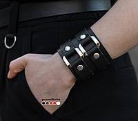 Широкий кожаный браслет с двумя квадратными элементами 3198 (Ручная работа)