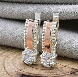 Серебряные серьги с золотом Мэри размер 18х6 мм белые фианиты вес 2.0 г