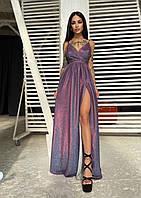 Вечернее платье блестящее люрекс в пол
