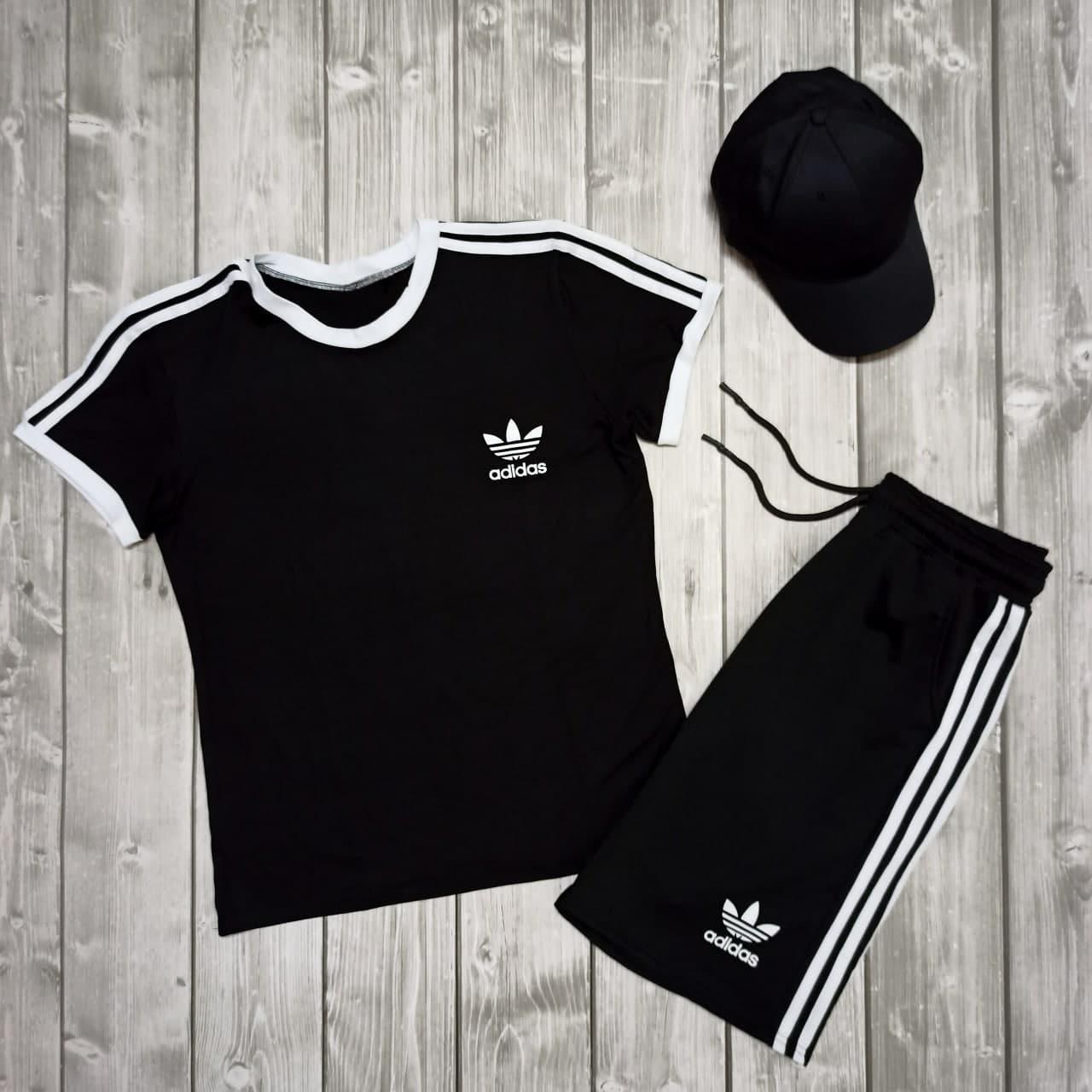 .Adidas адидас Мужской спортивный костюм/комплект черный с лампасами лето. Футболка + шорты + Подарок кепка
