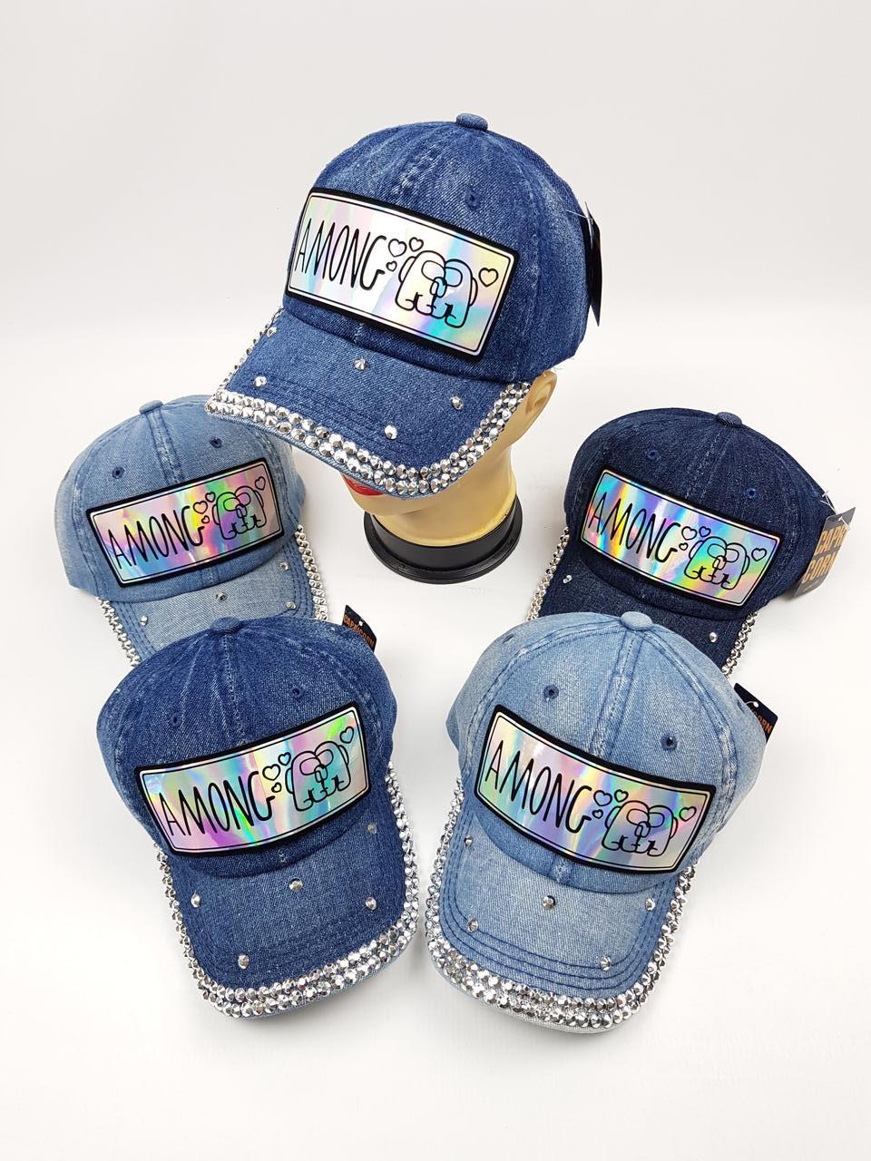 Детские джинсовые кепки Among Us для девочек оптом, р.54