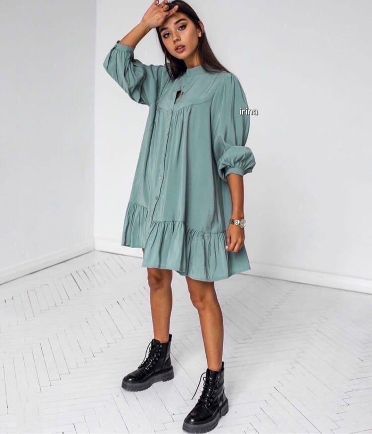 Женское платье, супер - софт, р-р универсальный 42-46 (оливковый)