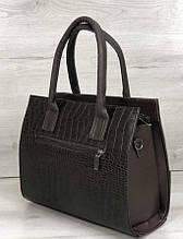 Классическая каркасная женская сумка Aliri-322-01 с цепочкой коричневая